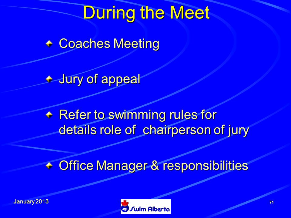 January During the Meet Coaches Meeting Jury of appeal Refer to swimming rules for details role of chairperson of jury Office Manager & responsibilities