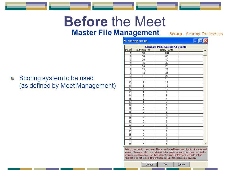 Scoring system to be used (as defined by Meet Management) Set-up – Scoring Preferences Before the Meet Master File Management