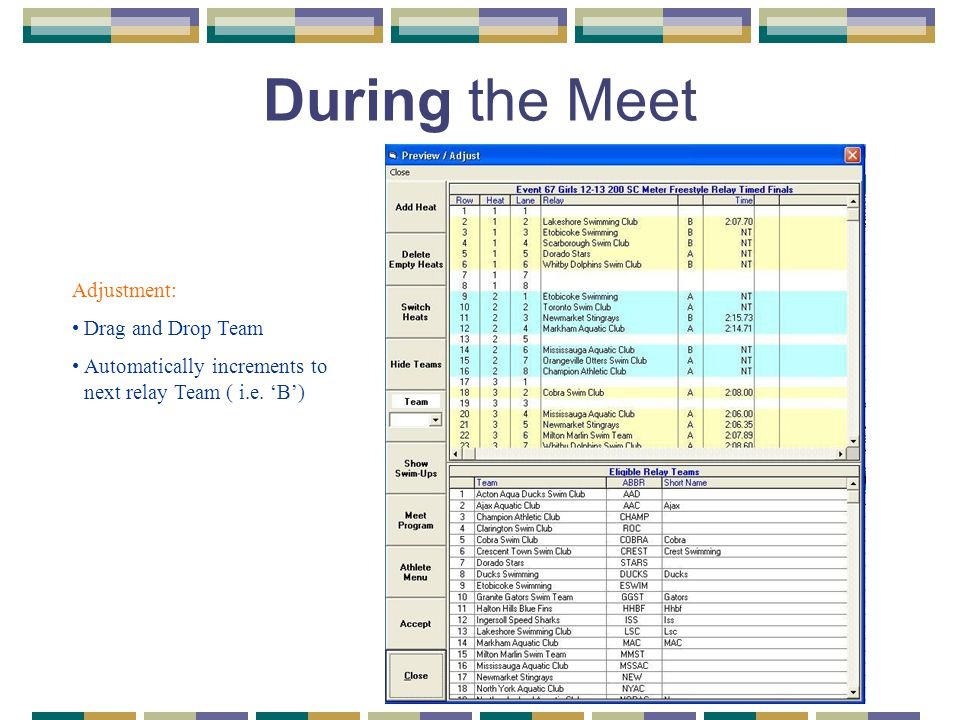 During the Meet Adjustment: Drag and Drop Team Automatically increments to next relay Team ( i.e. 'B')