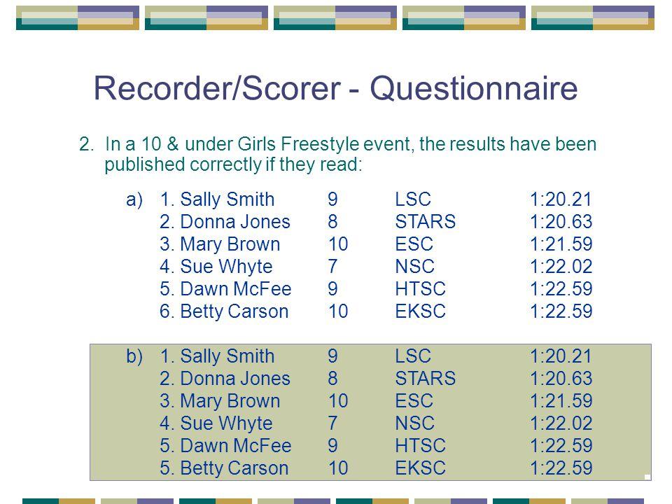 Recorder/Scorer - Questionnaire 2.