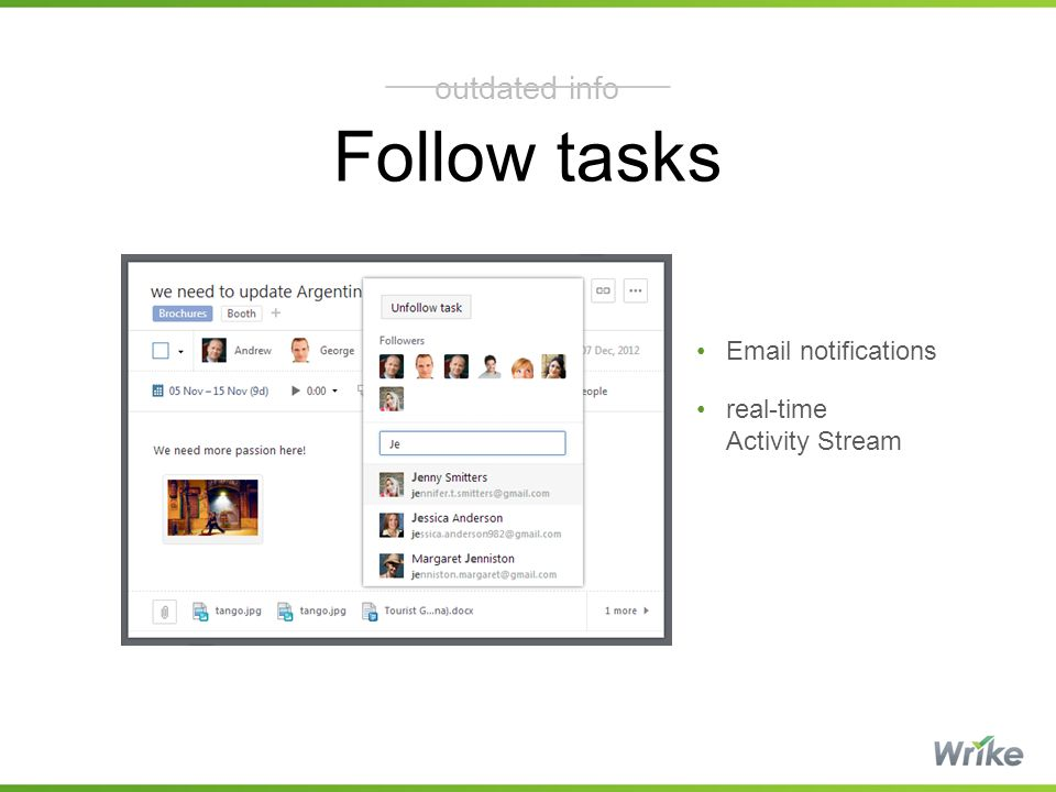 Follow tasks outdated info Email notifications real-time Activity Stream