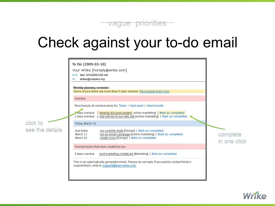 Check against your to-do email complete in one click click to see the details vague priorities