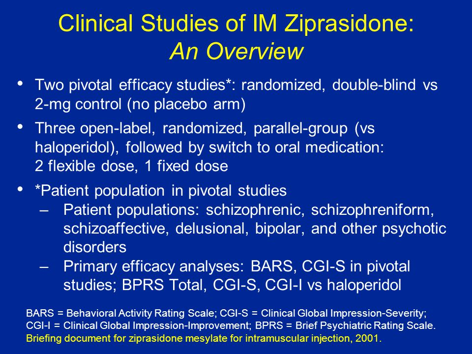 Clinical Studies of IM Ziprasidone: An Overview Two pivotal efficacy studies*: randomized, double-blind vs 2-mg control (no placebo arm) Three open-label, randomized, parallel-group (vs haloperidol), followed by switch to oral medication: 2 flexible dose, 1 fixed dose *Patient population in pivotal studies –Patient populations: schizophrenic, schizophreniform, schizoaffective, delusional, bipolar, and other psychotic disorders –Primary efficacy analyses: BARS, CGI-S in pivotal studies; BPRS Total, CGI-S, CGI-I vs haloperidol BARS = Behavioral Activity Rating Scale; CGI-S = Clinical Global Impression-Severity; CGI-I = Clinical Global Impression-Improvement; BPRS = Brief Psychiatric Rating Scale.