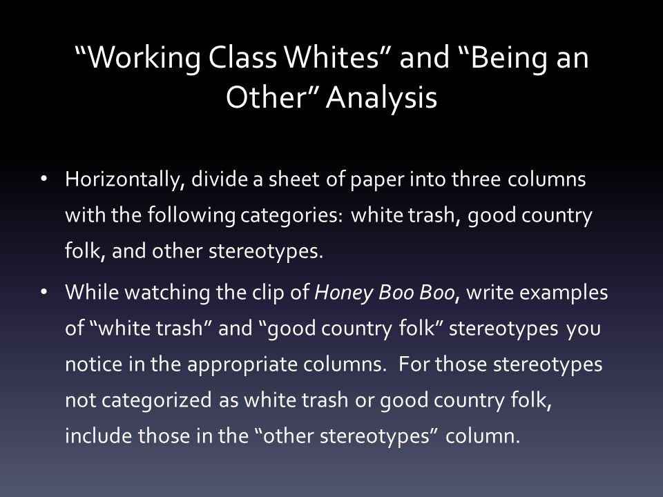"""Working Class Whites"" and ""Being an Other"" Analysis Horizontally, divide a sheet of paper into three columns with the following categories: white tra"