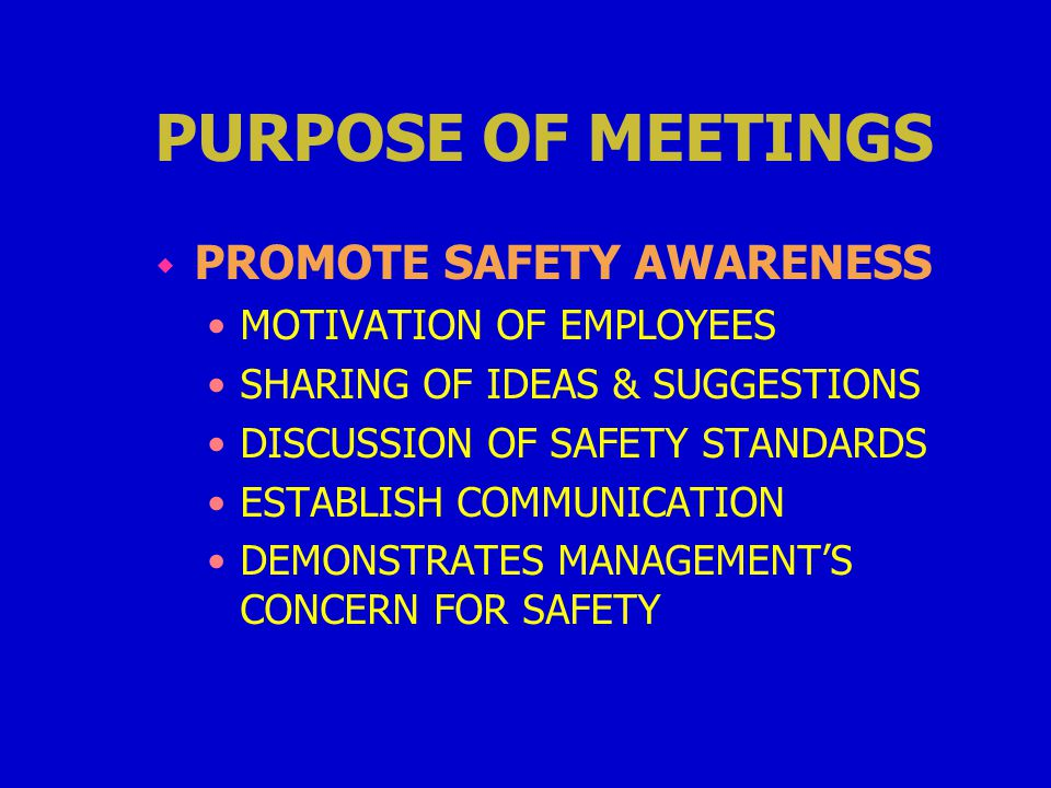 PURPOSE OF MEETINGS w PROMOTE SAFETY AWARENESS MOTIVATION OF EMPLOYEES SHARING OF IDEAS & SUGGESTIONS DISCUSSION OF SAFETY STANDARDS ESTABLISH COMMUNICATION DEMONSTRATES MANAGEMENT'S CONCERN FOR SAFETY