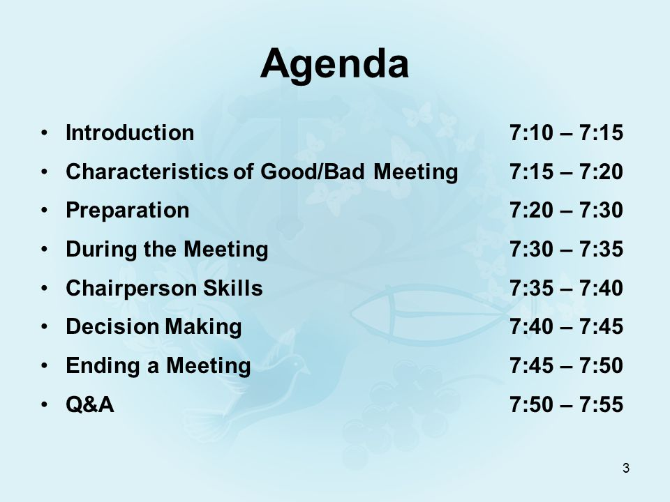 14 Ending a Meeting End on time or before Thank all members for attending Summarize decisions made to avoid misunderstandings later Review actions items handed out to council members Ensure members know when next meeting is Follow up with minutes shortly after the meeting