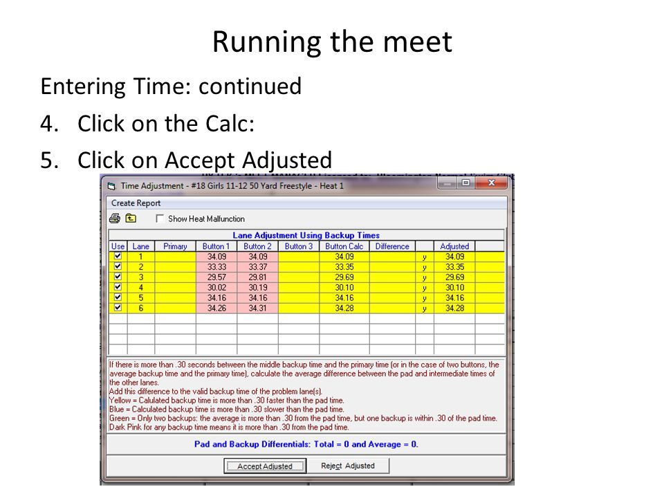 Running the meet Entering Time: continued 4.Click on the Calc: 5.Click on Accept Adjusted