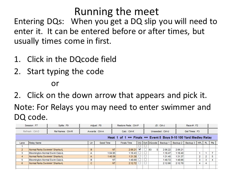 Running the meet Entering DQs: When you get a DQ slip you will need to enter it. It can be entered before or after times, but usually times come in fi