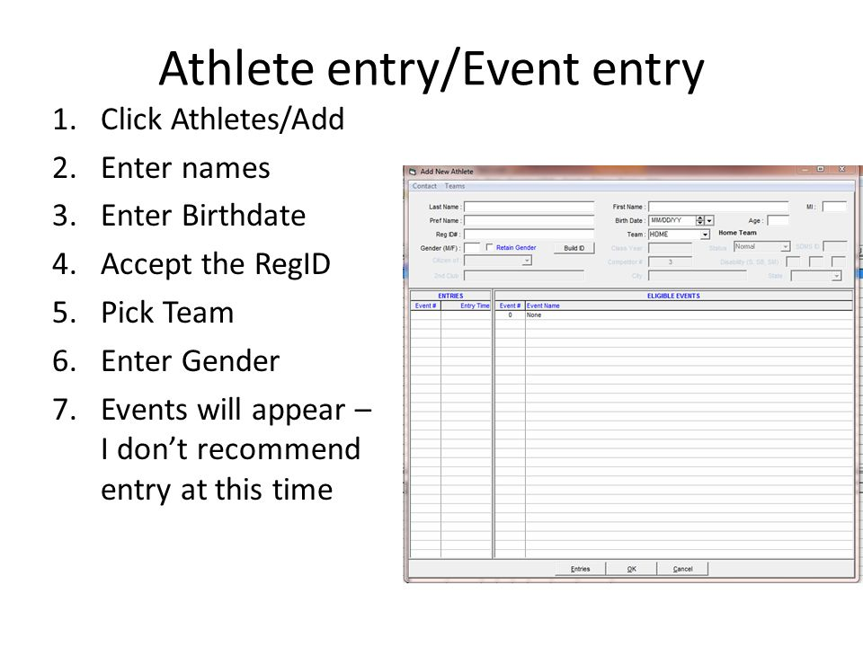 Running the meet Replacing Scratches in Non- Relay Events: 1.Click on the Event 2.Click on Adjust 3.Select Eligible Athletes + Swim-ups 4.Find the Athlete that the coach wants as replacement and move then by dragging them with your mouse to empty lane.