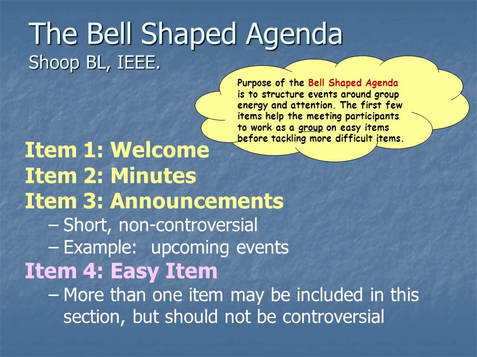 The Bell Shaped Agenda Shoop BL, IEEE.