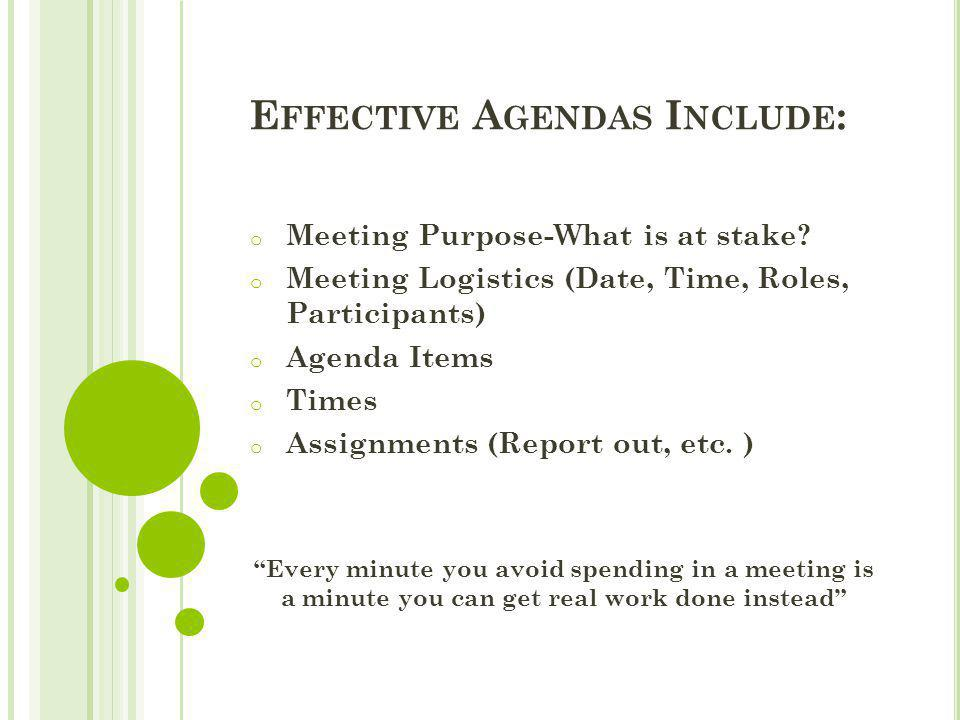 E FFECTIVE A GENDAS I NCLUDE : o Meeting Purpose-What is at stake? o Meeting Logistics (Date, Time, Roles, Participants) o Agenda Items o Times o Assi