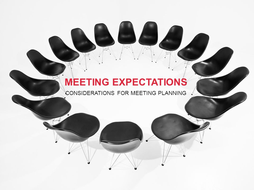 MEETING EXPECTATIONS CONSIDERATIONS FOR MEETING PLANNING