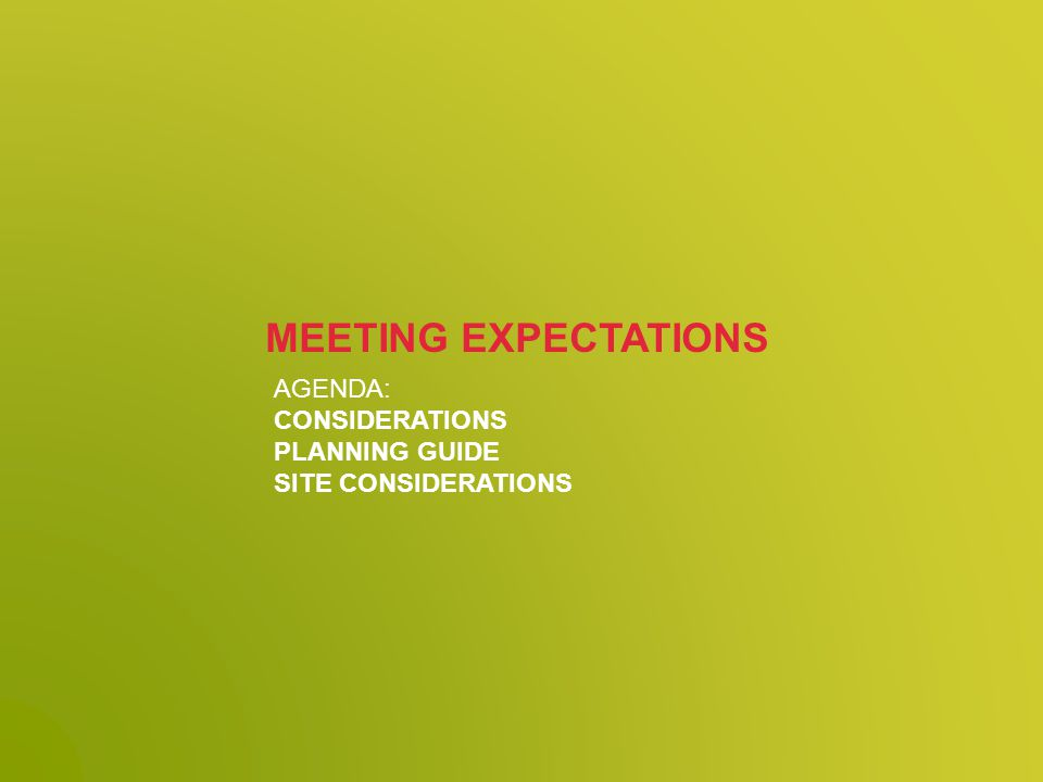 AGENDA: CONSIDERATIONS PLANNING GUIDE SITE CONSIDERATIONS MEETING EXPECTATIONS