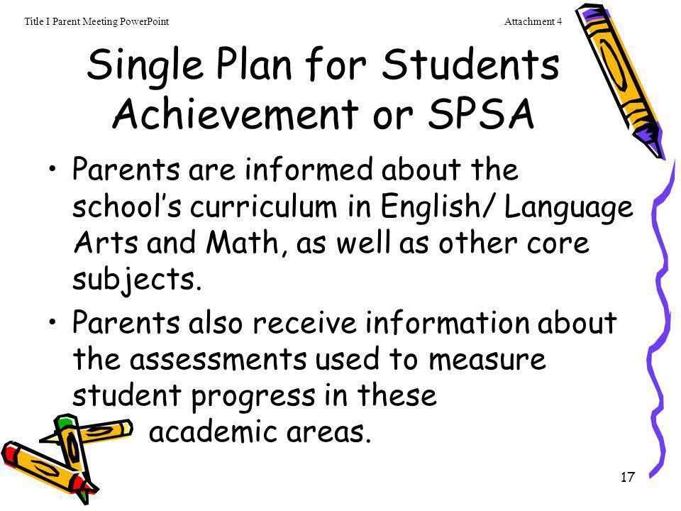 17 Single Plan for Students Achievement or SPSA Parents are informed about the school's curriculum in English/ Language Arts and Math, as well as othe