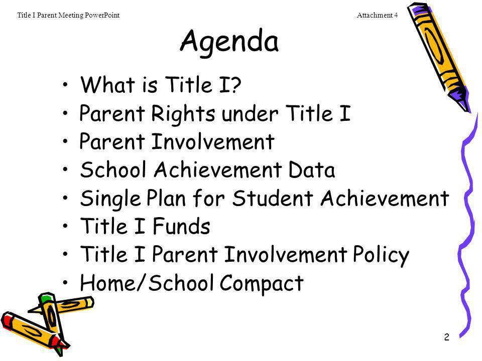 2 Agenda What is Title I? Parent Rights under Title I Parent Involvement School Achievement Data Single Plan for Student Achievement Title I Funds Tit