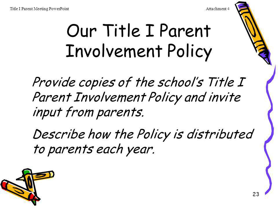 23 Our Title I Parent Involvement Policy Provide copies of the school's Title I Parent Involvement Policy and invite input from parents. Describe how