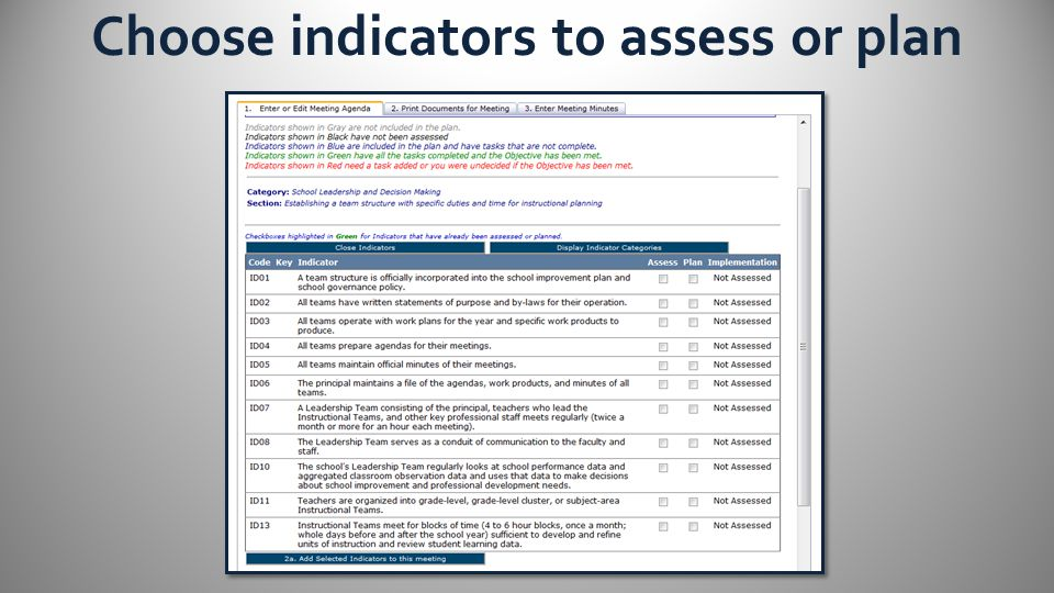 Choose indicators to assess or plan