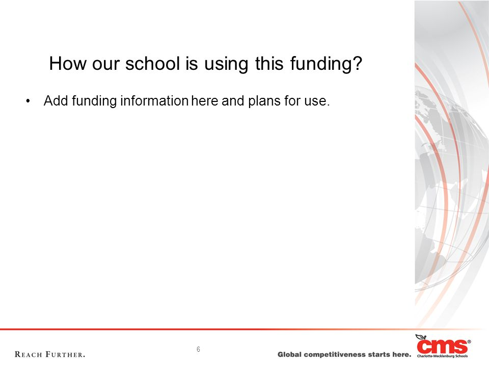 6 How our school is using this funding Add funding information here and plans for use.