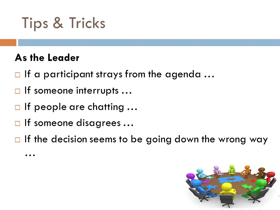 Tips & Tricks As the Leader  If a participant strays from the agenda …  If someone interrupts …  If people are chatting …  If someone disagrees …  If the decision seems to be going down the wrong way …