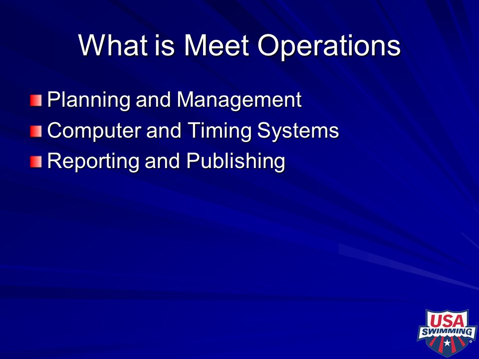 What is Meet Operations Planning and Management Computer and Timing Systems Reporting and Publishing