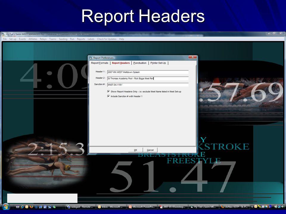 Report Headers