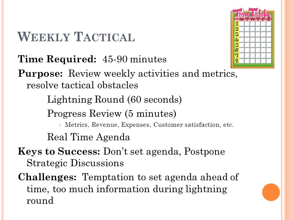 W EEKLY T ACTICAL Time Required: minutes Purpose: Review weekly activities and metrics, resolve tactical obstacles Lightning Round (60 seconds) Progress Review (5 minutes) Metrics, Revenue, Expenses, Customer satisfaction, etc.