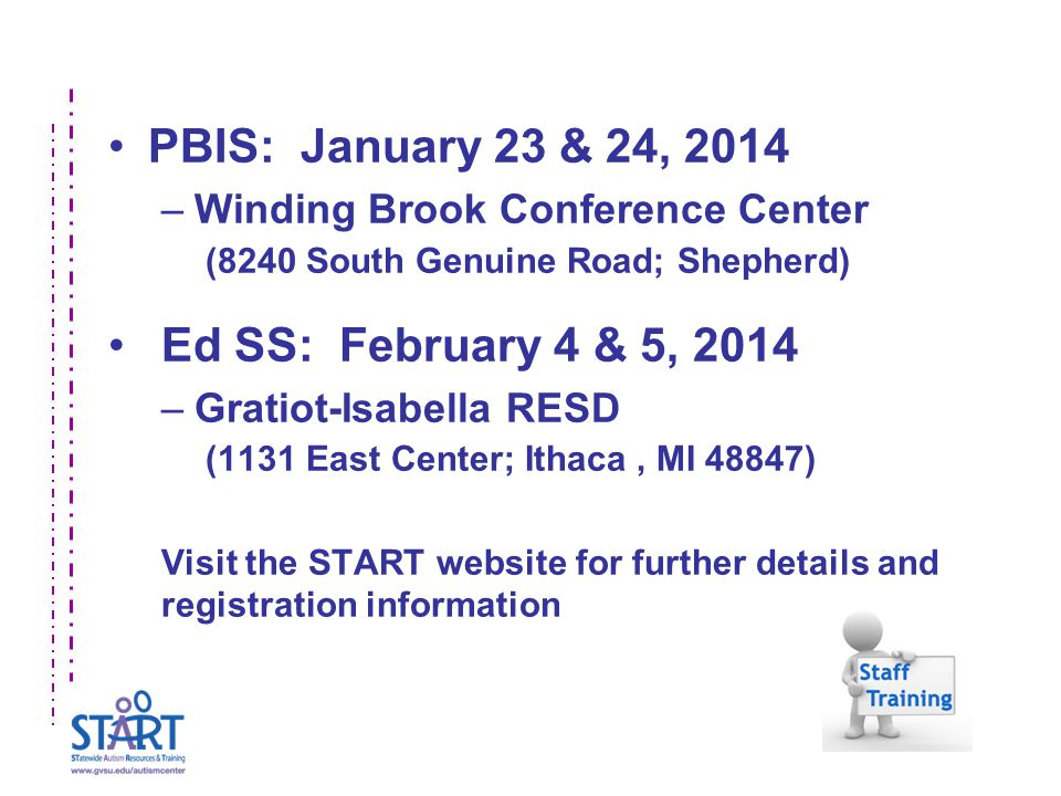PBIS: January 23 & 24, 2014 –Winding Brook Conference Center (8240 South Genuine Road; Shepherd) Ed SS: February 4 & 5, 2014 –Gratiot-Isabella RESD (1131 East Center; Ithaca, MI 48847) Visit the START website for further details and registration information
