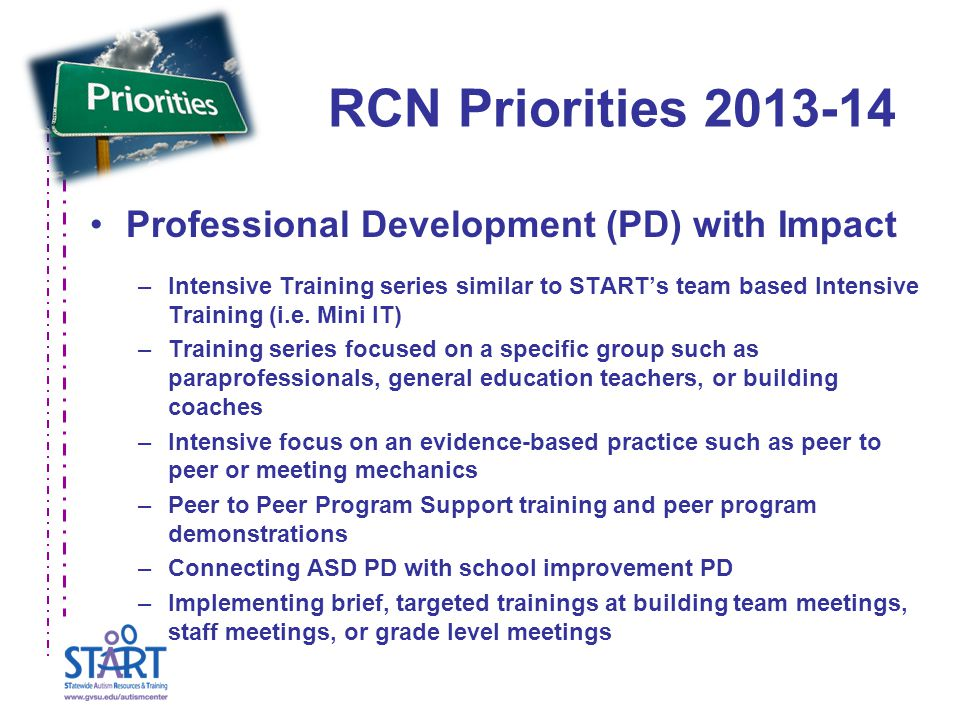 RCN Priorities Professional Development (PD) with Impact –Intensive Training series similar to START's team based Intensive Training (i.e.