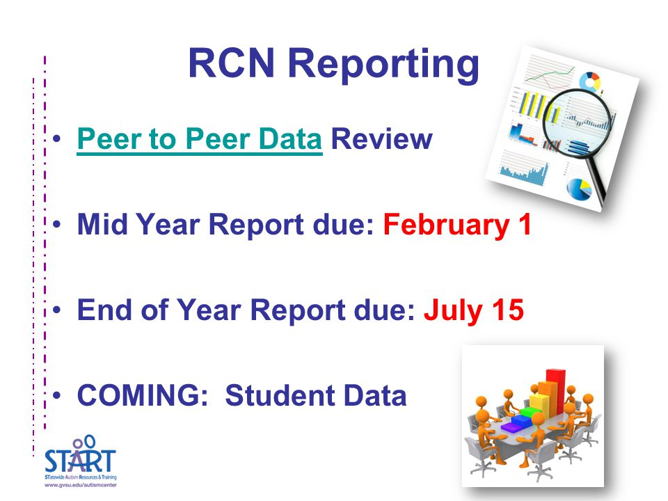 RCN Reporting Peer to Peer Data ReviewPeer to Peer Data Mid Year Report due: February 1 End of Year Report due: July 15 COMING: Student Data