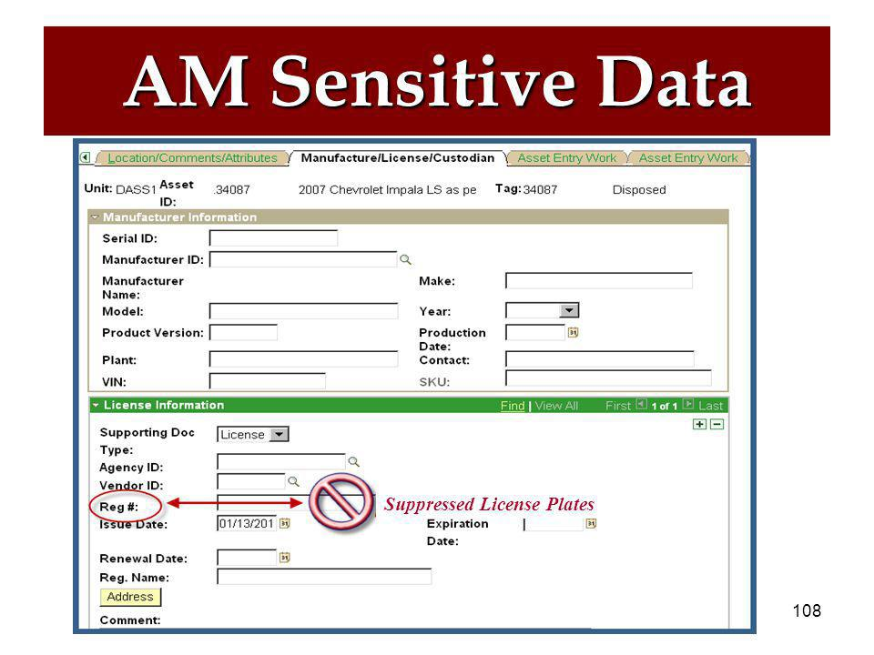 107 AM Sensitive Data  Data elements that might be considered sensitive.