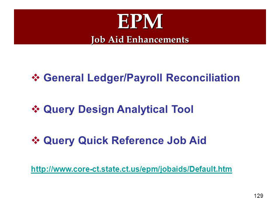 128 EPM Accounts Payable Supporting Query: CT_CORE_FIN_AP_M1_S1_RPT EPM only role required: CT_E_APBUS1REPORTING Pre-requisite: Access to both M1 and