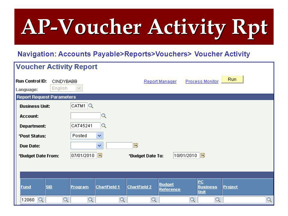 76 AP-Voucher Activity Rpt Report Redesign:  Now includes PO & Non-PO vouchers  New 'Budget Date From & To'  Removal of 'Accounting Date From & To'  Results can now include multiple Budget Ref Years