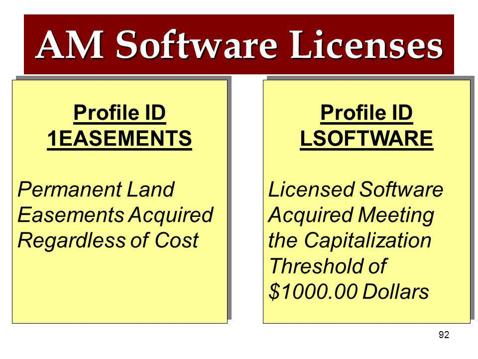 91 AM Software Licenses EASE LSOFT Profile ID 1EASEMENTS Profile ID 1EASEMENTS Profile ID LSOFTWARE Profile ID LSOFTWARE