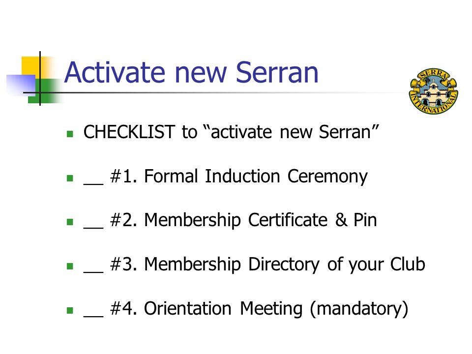 Activate new Serran CHECKLIST to activate new Serran __ #1.