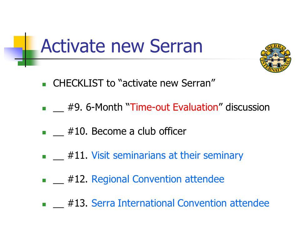 Activate new Serran CHECKLIST to activate new Serran __ #9.