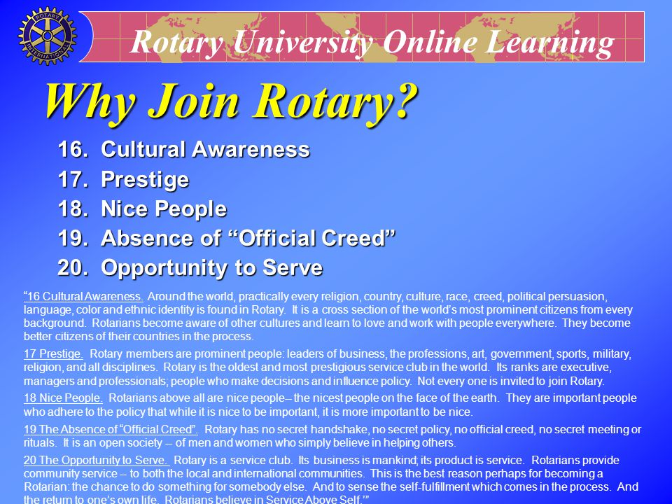 Rotary University Online Learning 11.Entertainment 12.