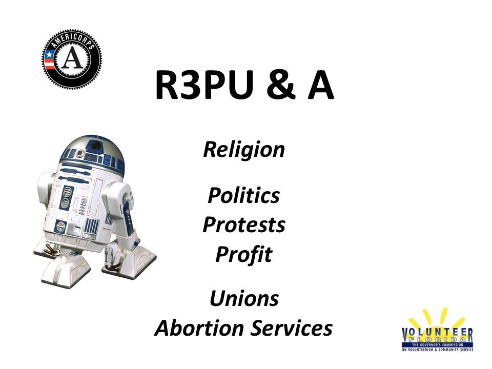 R3PU & A Religion Politics Protests Profit Unions Abortion Services