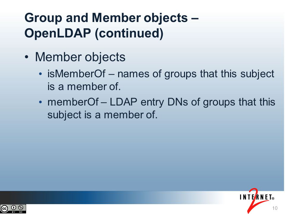 Member objects isMemberOf – names of groups that this subject is a member of.