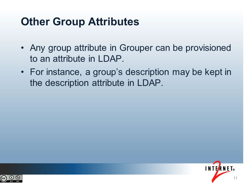 Any group attribute in Grouper can be provisioned to an attribute in LDAP. For instance, a group's description may be kept in the description attribut