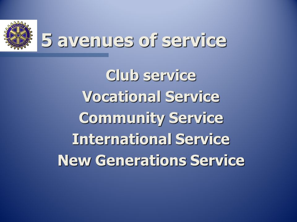 5 avenues of service Club service Vocational Service Community Service International Service New Generations Service