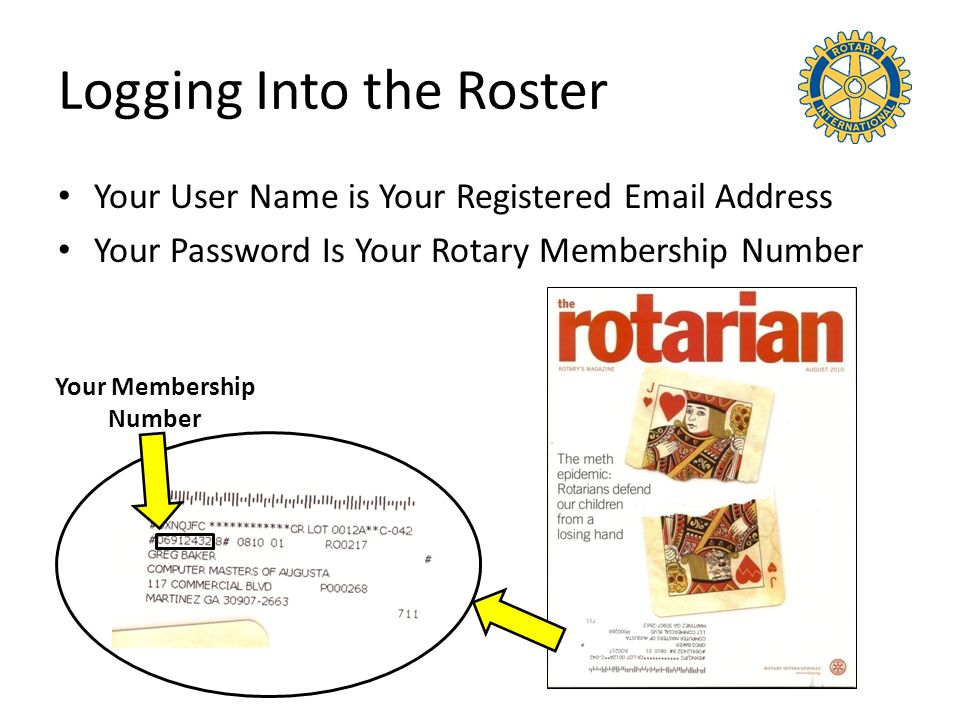 Logging Into the Roster Your User Name is Your Registered Email Address Your Password Is Your Rotary Membership Number Your Membership Number