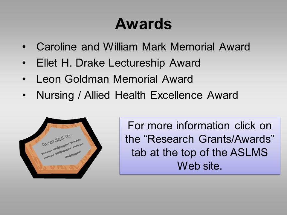 Awards Caroline and William Mark Memorial Award Ellet H.