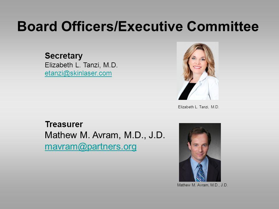 Secretary Elizabeth L. Tanzi, M.D. etanzi@skinlaser.com Treasurer Mathew M.