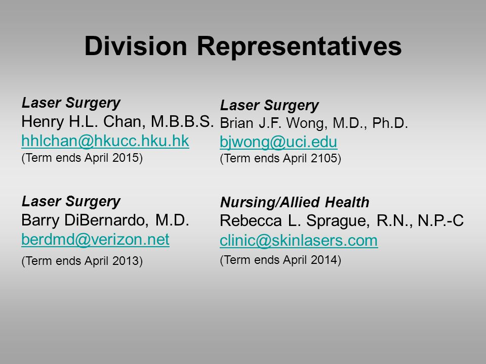 Division Representatives Laser Surgery Henry H.L. Chan, M.B.B.S.