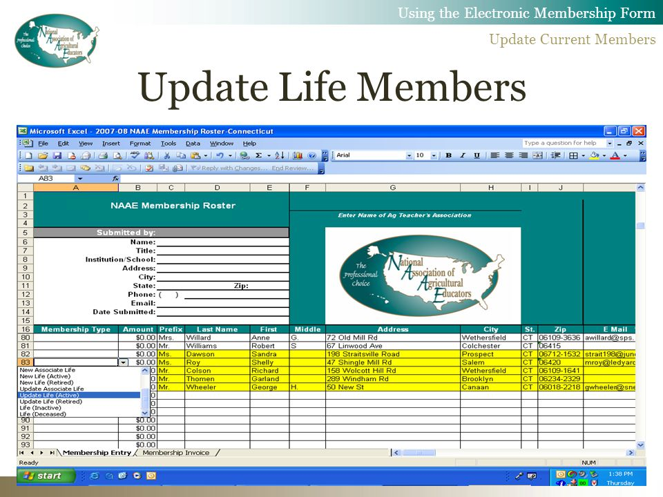 Update Life Members Using the Electronic Membership Form Update Current Members