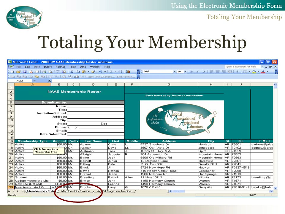 Using the Electronic Membership Form Totaling Your Membership