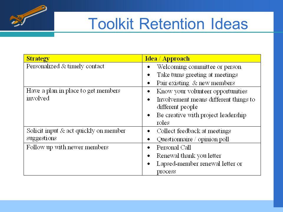 Toolkit Retention Ideas