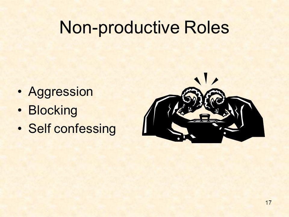 17 Non-productive Roles Aggression Blocking Self confessing