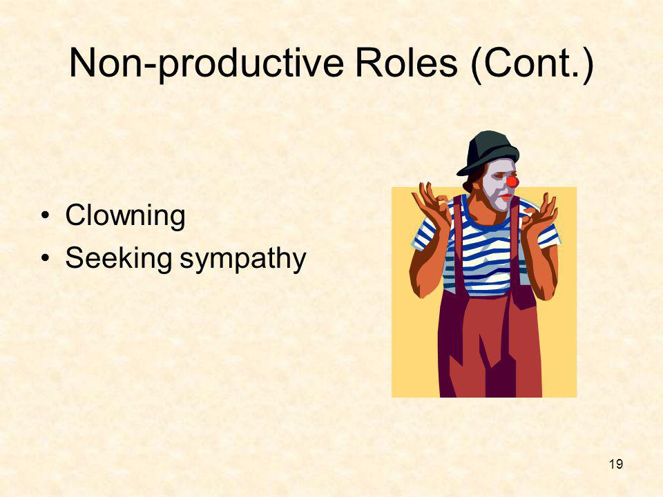 19 Non-productive Roles (Cont.) Clowning Seeking sympathy