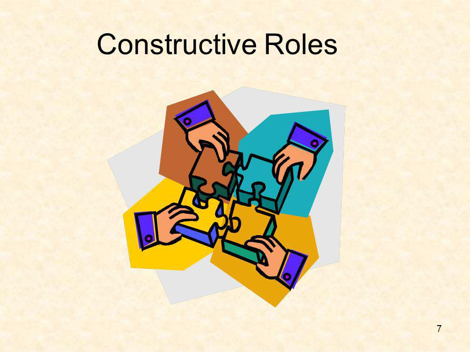 18 Non-productive Roles (Cont.) Competing Recognition seeking Special pleading